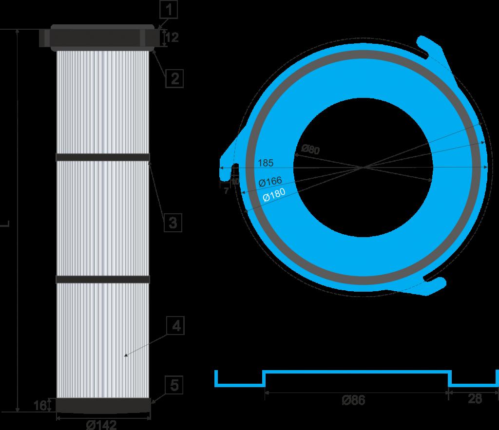 Cartucho filtrante 145-3G