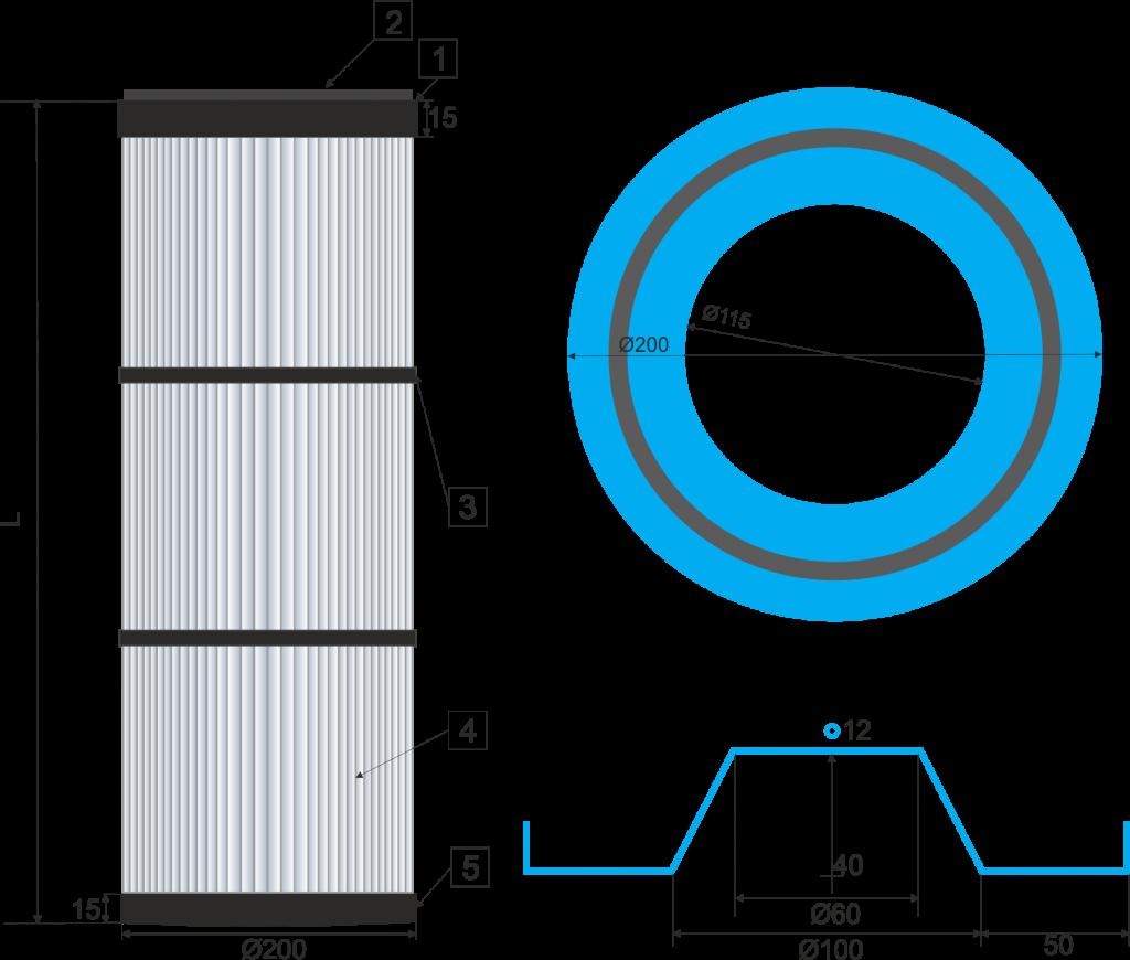 Cartucho filtrante  200-DINA